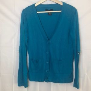 Apostrophe Button Up Cardigan w/Roll Up Sleeves